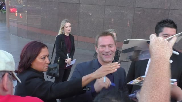 Aaron Eckhart greets fans outside Sully Premiere at DGA Theatre in West Hollywood in Celebrity Sightings in Los Angeles