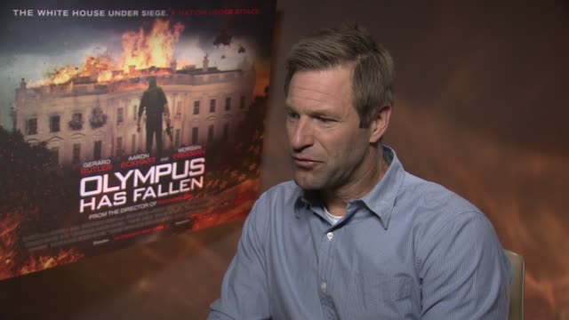INTERVIEW Aaron Eckhart on the movies themes and the realism at the 'Olympus Has Fallen' Junket Interviews at Corinthia Hotel London on April 03 2013...