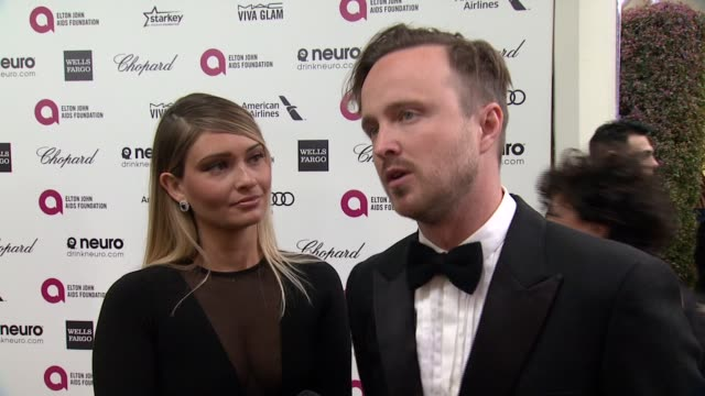 INTERVIEW Aaron Paul on the event and on Elton John at the 23rd Annual Elton John AIDS Foundation Academy Awards Viewing Party Sponsored By Chopard...
