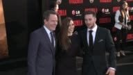 Aaron TaylorJohnson Elizabeth Olsen and Bryan Cranston at the 'Godzilla' Los Angeles Premiere at Dolby Theatre on May 08 2014 in Hollywood California