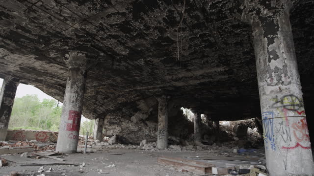 abandoned building in Detroit and rubble