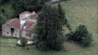 Abandoned farmhouse - Aerial View - Midi-Pyrénées,  Ariège,  Arrondissement de Foix helicopter filming,  aerial video,  cineflex,  establishing shot,  France