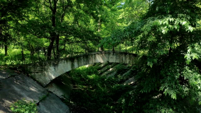 Abandoned park with weather-beaten bridge over parched channel