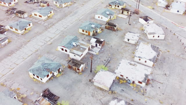 WS AERIAL Abandoned town with rows of empty houses