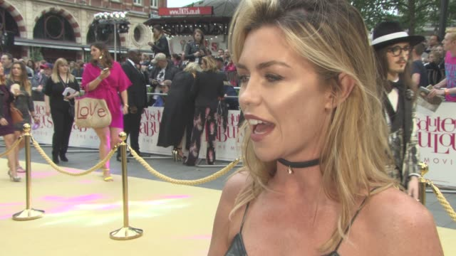 INTERVIEW Abbey Clancy on the appeal of 'AbFab' at 'Absolutely Fabulous The Movie' UK film premiere at Odeon Leicester Square on June 29 2016 in...