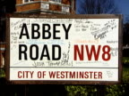 Abbey Road Studios to open to the public ENGLAND London Abbey Road The Beatles You Never Give Me Your Money CMS Road sign 'Abbey Road' scrawled with...