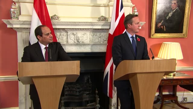 Abdel Fattah elSisi and David Cameron press conference Abdel Fatah alSisi and David Cameron MP question and answer session SOT