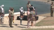 Aboriginal ritual is held during an alternative commemoration ceremony to mark the 100th Anniversary of the Canakkale Land Battles at Anzac Cove in...