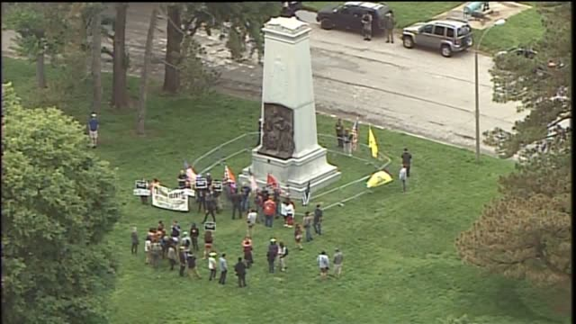 KTVI About two dozen people showed up at the Confederate Monument in St Louis' Forest Park on the night of May 23 2017 to debate its removal The...