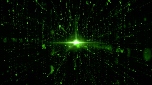 Abstract 3D Rain Random Data Code in Cyber Space with Flare, Technology Background