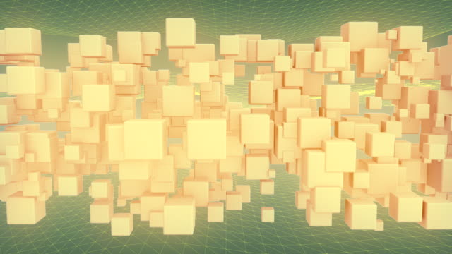 Abstract background of flowing cubes