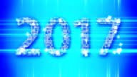 Abstract blue 2017 New Year Loopable background