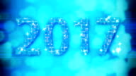 Abstract blue 2017 New Year Loopable background with bokeh