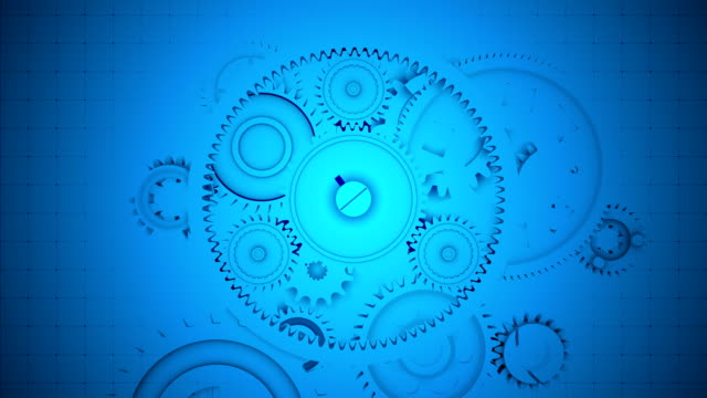 Abstract Blue Gears Background - Seamless Loopable