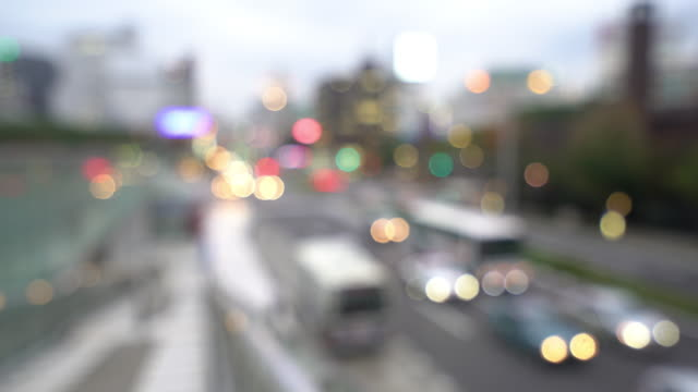 Abstract Blurred background: Nagoya cityscape and Pedestrians at Sakae sunset Japan