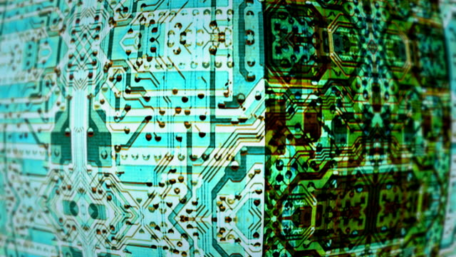 Abstract circuit board forms merge and scroll (Loop).