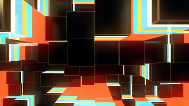 Abstract colored cubes move. Loopable 3d animation background.