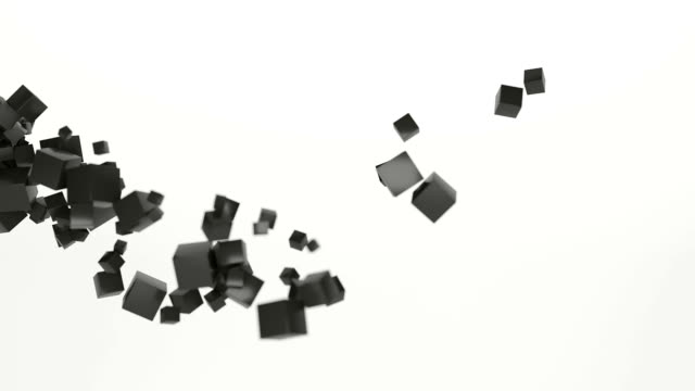 abstract cube particle cloud flybye fast moving