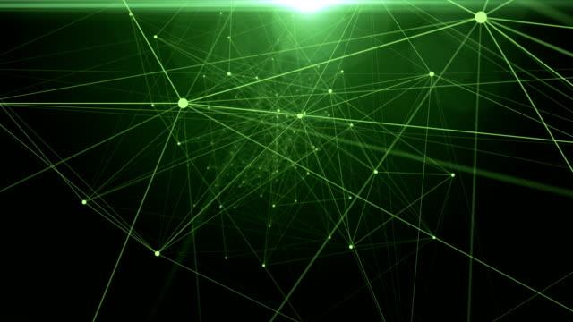Abstrakte Datenverbindungen im Raum. Punkte auf grünem Farbverlauf Hintergrund verbunden