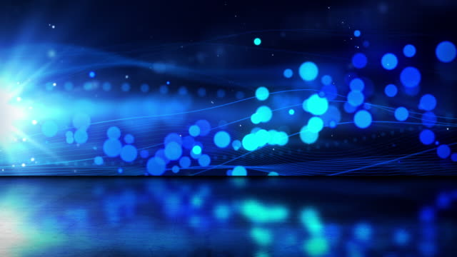 Abstract Flowing Waves Background Loop - Reflective Floor Blue (HD)