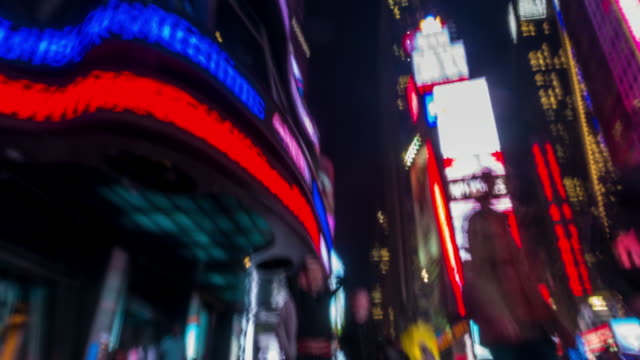 Abstract footage of moving people at Time Square