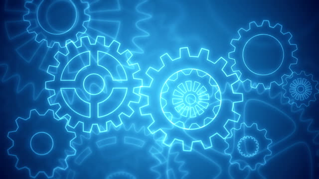 Abstract gears background loopable blue drawing