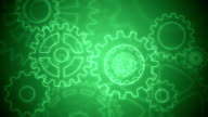 Abstract gears background loopable green drawing
