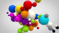 Abstract Glossy Balls Background - MultiColoured on greyha)