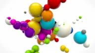 Abstract Glossy Balls Looping Background - MultiColoured on White