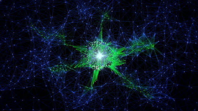 Abstract Glowing Neural Cells and Neuron Network, Biology and Futuristic Concept
