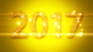 Abstract golden 2017 New Year Loopable background
