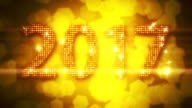 Abstract golden 2017 New Year Loopable background with bokeh