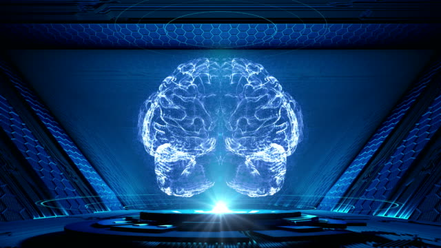 abstract human brain on technology background