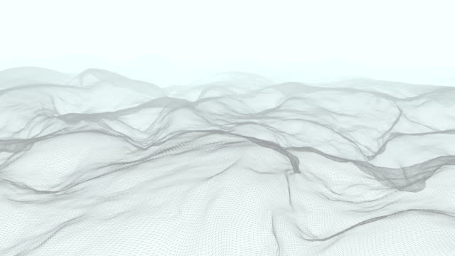 Abstract mountain wire-frame, flying through the mountain