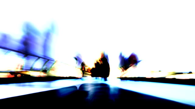 Abstract shot of commuters on bridge. HD