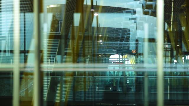 Abstract Shot of Travelers at Madrid Barajas International Airport.