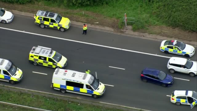 M5 motorway crash four people killed air views of scene ENGLAND Gloucestershire M5 motorway Scene of the crash on the M5 motorway that killed four...