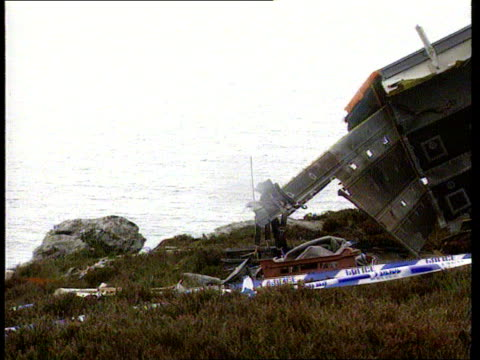 Aviation Chinook Crash SCOTLAND Mull of Kintyre Wreckage of Chinook helicopter which crashed killing 29 people Investigators at scene