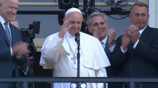 Accompanied by the Vice President of the United States Joe Biden Speaker John Boehner and the House Majority Leader Kevin McCarthy His Holiness Pope...