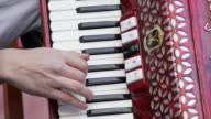 Accordion Player Performing On Stage Close-up (4K/UHD)