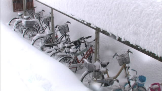 Accumulated snow on the roof of a bicycle shed