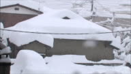 Accumulated snow on the roof of a house