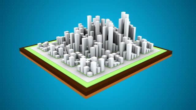 Acid rain over the city. Air pollution. 3d animation.