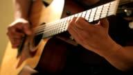 Acoustic guitar in musician hands