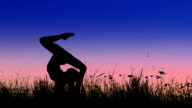 Acrobat girl exercising in the evening field