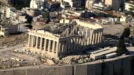 MS AERIAL Acropolis focusing on parthenon house of goddess Athena/ Acropolis, Athens, Greece