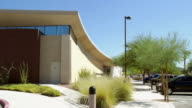 WS PAN across post modern architecture public library building / Rancho Mirage, California, USA