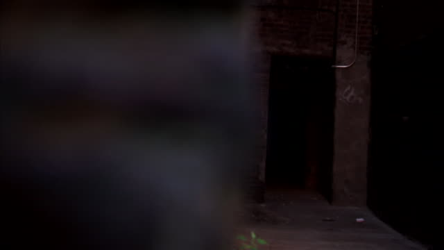 Across stone wall to a dirty alley brick walls w/ graffiti on them leading to a dark door piping above door