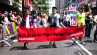 Act Up NY is a diverse nonpartisan group committed to end the AIDS crisis / The Annual New York City Gay Pride Parade / The parade celebrates the...