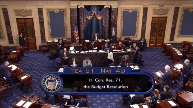 Acting as presiding officer Louisiana Senator John Kennedy announces the concurrent resolution passed by 5149 Majority Leader Mitch McConnell then...